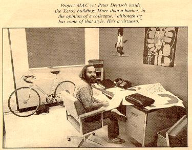 L. Peter Deutsch in his office at Xerox PARC, around 1972.